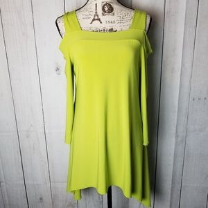 Tiana B. Chartreuse Cold Shoulder Tunic
